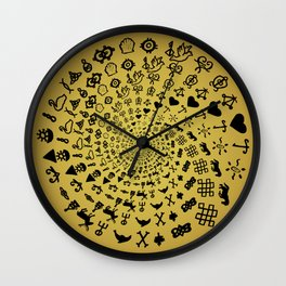 Mandala of Love Symbols from Ancient Cultures on Papyrus Wall Clock