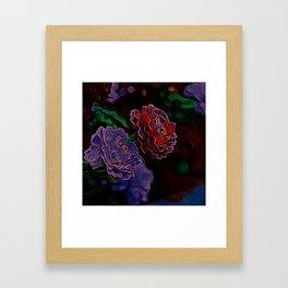 Neon Flowers in the Dark 1 Framed Art Print