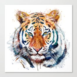 Tiger Head watercolor Canvas Print