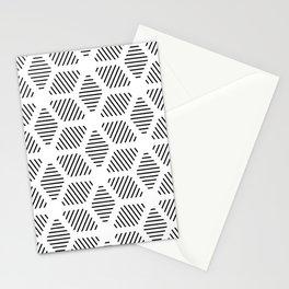 Geometric Line Lines Diamond Shape Tribal Ethnic Pattern Simple Simplistic Minimal Black and White Stationery Cards