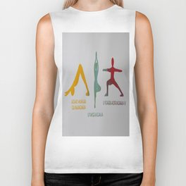 Screenprinted Yoga Art: Asanas - Wild Veda Biker Tank