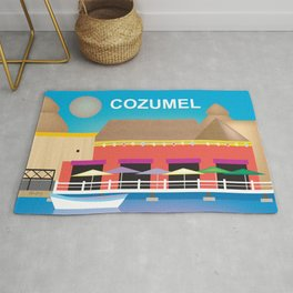 Cozumel, Mexico - Skyline Illustration by Loose Petals Rug