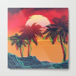 Vaporwave landscape with rocks and palms Metal Print