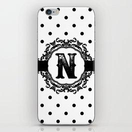 Black Monogram: Letter N iPhone Skin