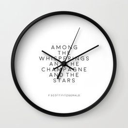 Champagne Sign F Scott Fitzgerald F Scott Fitzgerald Quote Fashion Print Inspirational Print Party Wall Clock