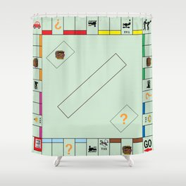 Monopoly Print Currency Game Shower Curtain