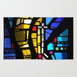Stained Glass with Cross Rug