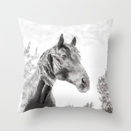 Horse in the Field.  Black and White. Watercolor Painting Style. Throw Pillow