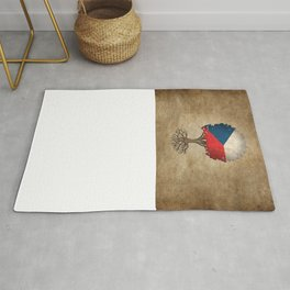 Vintage Tree of Life with Flag of Czech Republic Rug