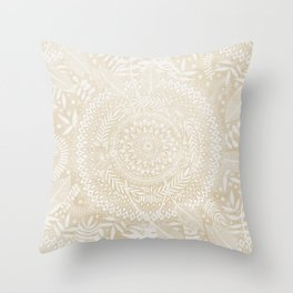 Medallion Pattern in Pale Tan Throw Pillow