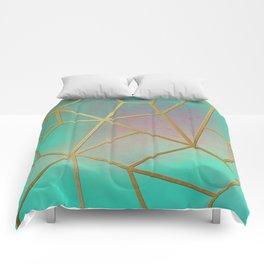 Gold Ribbed Aqua Pastel Comforters
