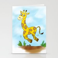 chad wys Stationery Cards featuring Chad the Prancing Giraffe  by Nuanc3d