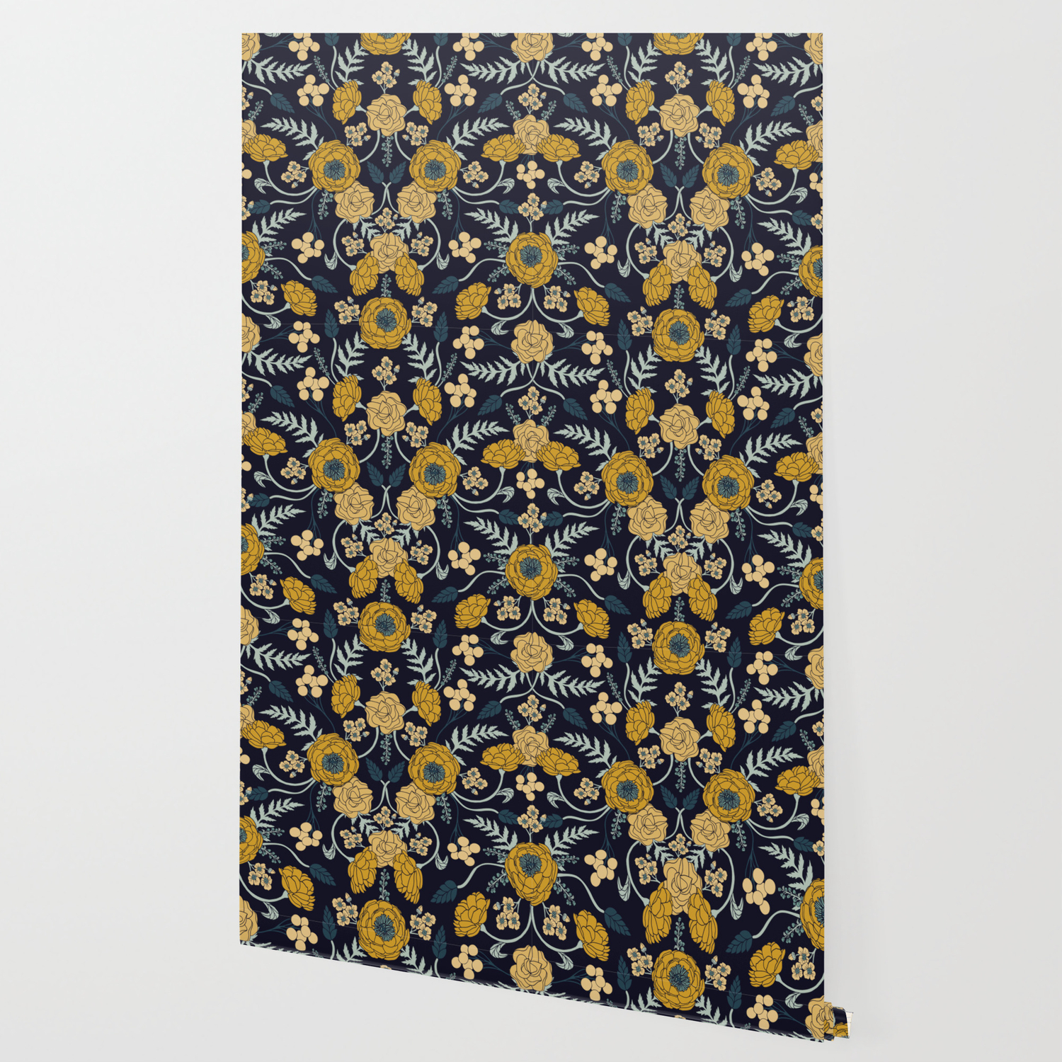 Navy Blue Turquoise Cream Mustard Yellow Dark Floral Pattern