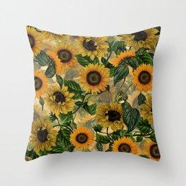 Vintage & Shabby Chic - Sunflowers Flower Garden Throw Pillow