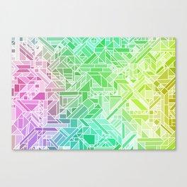 Bright Gradient (Violet Purple Lime Green Neon Yellow) Geometric Pattern Print Canvas Print