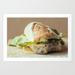 Baguette stuffed with cheese, salad, baked ham Art Print