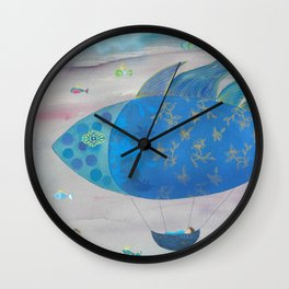 Flying Fish in Sea of Clouds with Sleeping Child Wall Clock