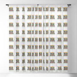 ORGANIC INVENTIONS SERIES: Vintage Smythe-Corn-A Typewriter Sheer Curtain