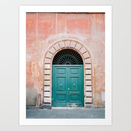 Turquoise Green Door In Trastevere Rome Travel Print Italy Film Photography Wall Art