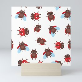 Funny insects ladybugs pattern on white background Mini Art Print