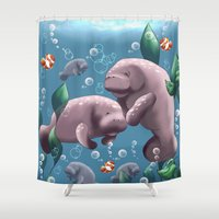 manatee Shower Curtains featuring Manatee & Baby by A Joy Filled Heart