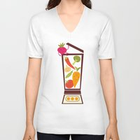 vegetable V-neck T-shirts featuring Vegetable smoothie by olillia