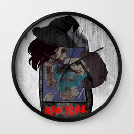 Dark kiss - NYC map Wall Clock