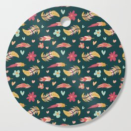 FEATHERS AND FLOWERS Cutting Board