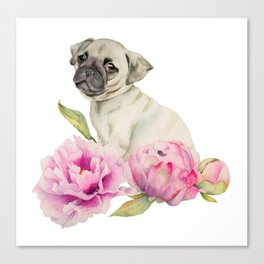 Pug and Peonies | Watercolor Illustration Canvas Print