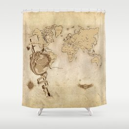 World Map (Here be Dragons!) Shower Curtain