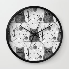 Black And White Owls Wall Clock
