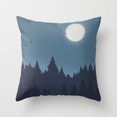 Tree Line - Blue Throw Pillow