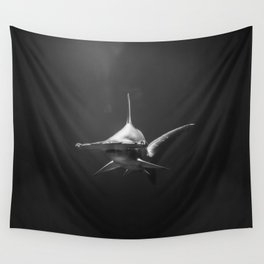 Hammerhead Shark (Black and White) Wall Tapestry