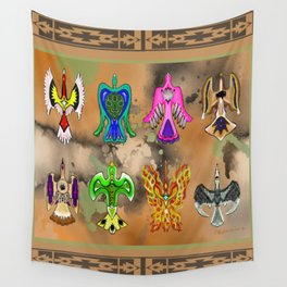 "Native American Waterbirds ""Of All Color"" Wall Tapestry"