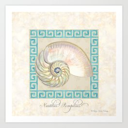 Greek Key Nautilus Seashell Botanical Shell w Striped Pattern Art Print