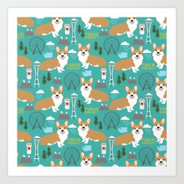Corgi seattle washington welsh corgi pattern print dog lover gifts space needle ferris wheel coffee Art Print