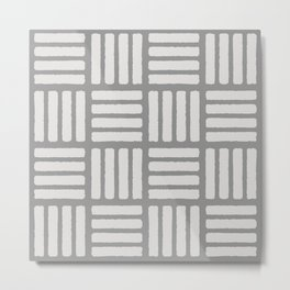 Stamped White on Grey Metal Print