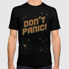 Don't Panic! Pixel Art Black LARGE Mens Fitted Tee
