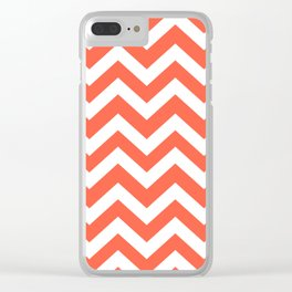 Tomato - red color - Zigzag Chevron Pattern Clear iPhone Case