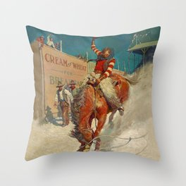 """N C Wyeth Western Painting """"The Rodeo"""" Throw Pillow"""