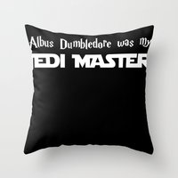 dumbledore Throw Pillows featuring Master Dumbledore black by Leslie-Nanane Nanère
