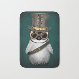 Steampunk Baby Penguin on Blue Bath Mat