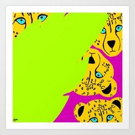 Peeking Cheetahs Art Print