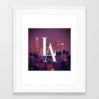 dodgers Framed Art Prints featuring Downtown LA Vintage Skyline Typography by RexLambo