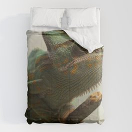 Green Chameleon on Branch Comforters