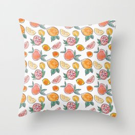 Soft Citrus slices party in my garden_Pink & Teal Green watercolour & ink Throw Pillow