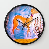 greyhound Wall Clocks featuring Greyhound by Caballos of Colour