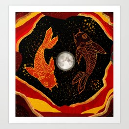 Two Koi in a Pond Art Print