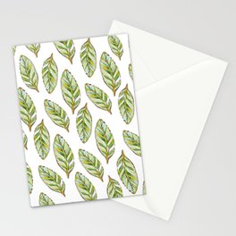 Soft Calathea leaves_green & white watercolour & ink Stationery Cards