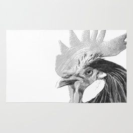 Black and White Rooster Rug